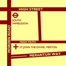 Location map for St John the Divine, Merton (click for larger version)